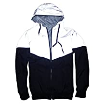 Reflective Windbreaker Front-Zip Hooded Jacket Lightweight Outwear For Couple
