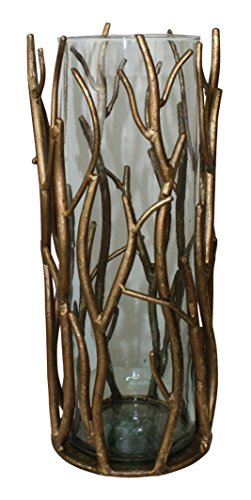 Italian Gold Iron Twig Accent Candle Hurricane with Glass Insert