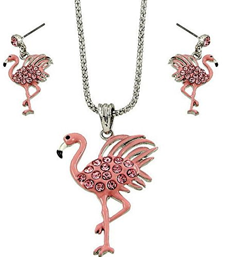 Pink Flamingo Pendant Necklace and Earrings Set Gift Boxed