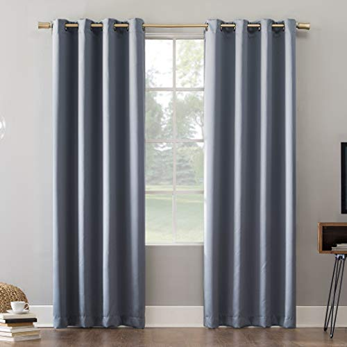 Sun Zero Oslo Theater Grade Extreme 100% Blackout Grommet Curtain Panel, 52' x 95', Haze
