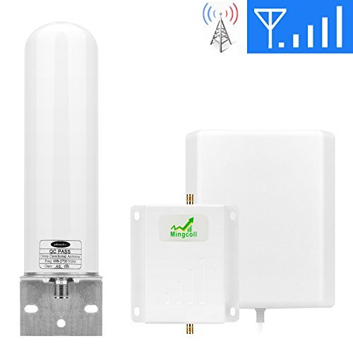 T-Mobile Cell Phone Signal Booster Mingcoll 1700MHz 3G 4G Band 4 Mobile Signal Repeater Booster with Outdoor Omnidirectional Tubular Antenna Kit for Home and Office (Tubular+Panel) [並行輸入品]   B07GB5B3G5