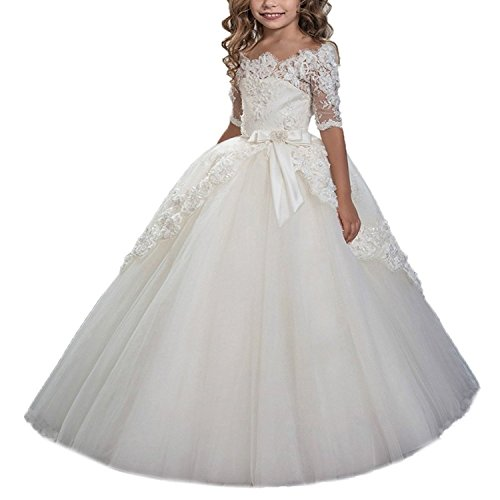 Lace Bodice Dress (BessDress Lace Bodice Flower Girl Dress for Weddings First Communion Dresses)