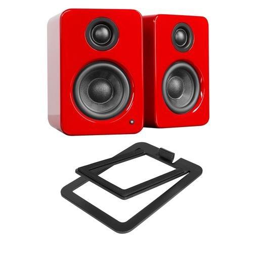 Kanto YU2 2 x 25W RMS Powered Desktop Speakers, Pair, Gloss Red Crimson - With S2 Desktop Speaker Stands, Pair, Black