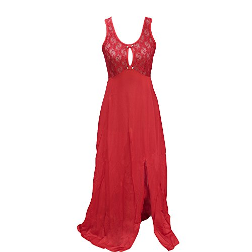 Girl Style Womens Red Nightgown With Stretch Lace Keyhole Top (2X) (Keyhole Nightgown)