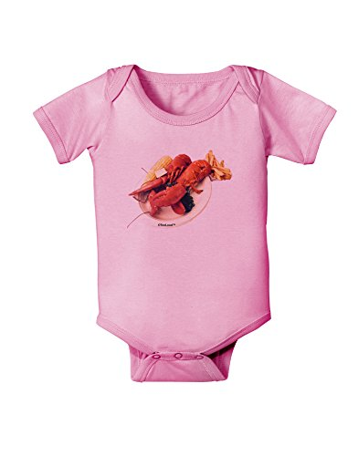 TooLoud Lobster Plate Baby Romper Bodysuit - Candy Pink - 12 Months