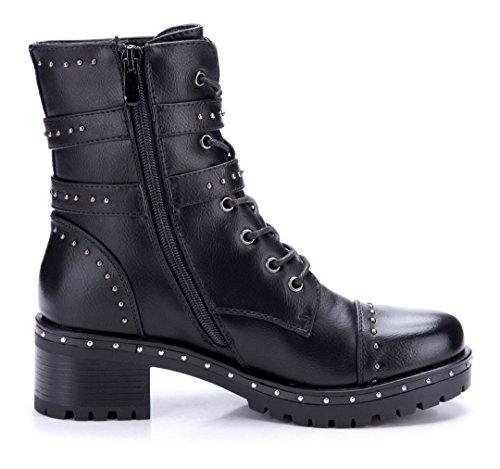 Schuhtempel24 Damen Schuhe Boots Stiefel Stiefeletten Blockabsatz Schnalle/Nieten 5 cm Schwarz