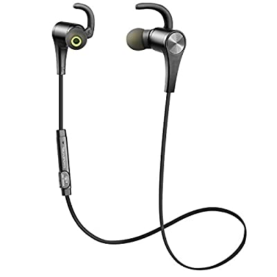 SoundPEATS Bluetooth Headphones Wireless Earbuds 4.1 Magnetic Bluetooth Earbus APTX Stereo earphones with Mic(6 Hours Play Time, Secure Fit Design, Noise cancelling)