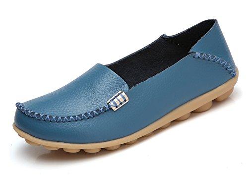 VenusCelia Women's Natural Comfort Walking Flat Loafer(8 M US,Blue)
