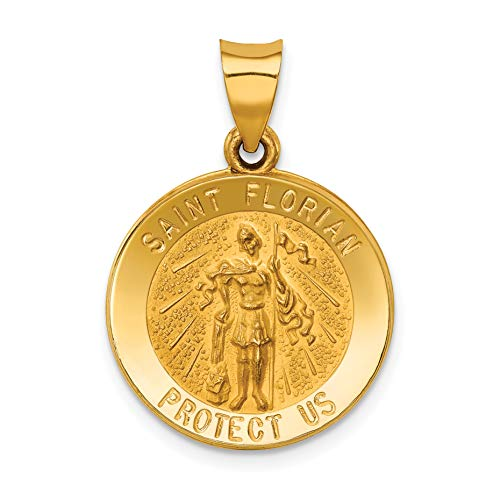 14k Yellow Gold Saint Florian Protect Us Words On Round Dime Size Pendant 21x18mm (Gold Florian Medal Saint)