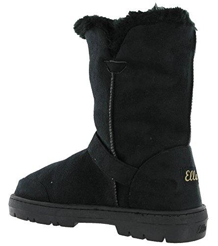 Black Fur Alex Flat Snugg Boots Warm Lined Buckle Winter Twin Ella Womens FqwSqP