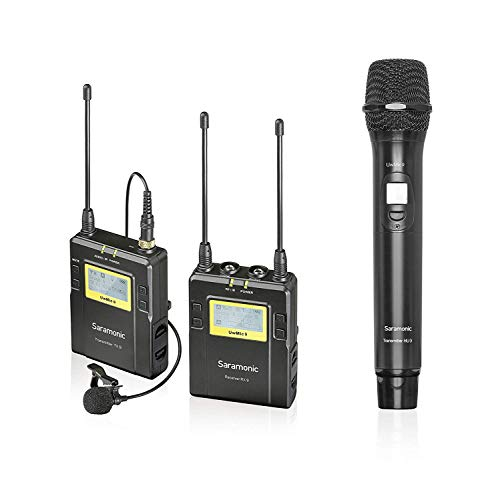Saramonic 96-Channel UHF Wireless Lavalier Microphone System 1 Bodypack Transmitter, 1 Handheld Transmitter and 1 Receiver for Canon Nikon Sony Panasonic DSLR Camera,XLR Camcorder & Smartphone