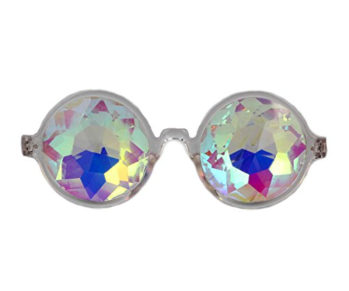 FUT Premium Kaleidoscope Glasses - Best Rave Diffraction Glass Crystal Lenses Kaleidoscopic Prism for Halloween (Rave Costume Male)