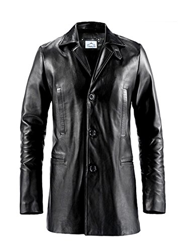 VearFit Max Payne Mark Wahlberg Regular Big & Tall Size Formal genuine leather Trench Coat for men, Custom, Black Genuine Trench Coat