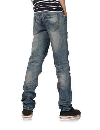 Corte De Recto 802R De Hellblau Laisla Destruidos Corte con Pantalones Serie Chicos Mezclilla De Jeans De Mezclilla Mezclilla Hombre Clásico Pantalones con fashion para La Recto Pantalones xBzqBYwZU
