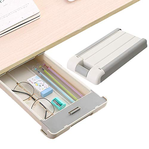 Desk Drawer,Under Table Drawer, Hidden Self-Adhesive Pencil Tray Drawer,Under Desk Holder Storage Box, Stationery Pencil Storage Drawer Organizer for Office,School,Kitchen (Gray)