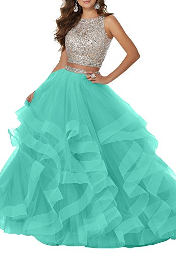 Women's Sexy Beaded Two Piece Prom Dresses Long Asymmetric Layered Tulle Formal Prom Ball Gown S039 - Return To Please Tiffany
