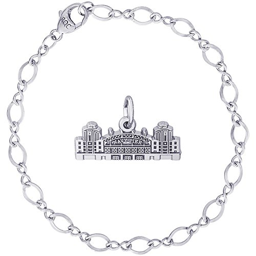 - Rembrandt Charms Sterling Silver Navy Pier Charm on a Figure Eight Link Bracelet, 7