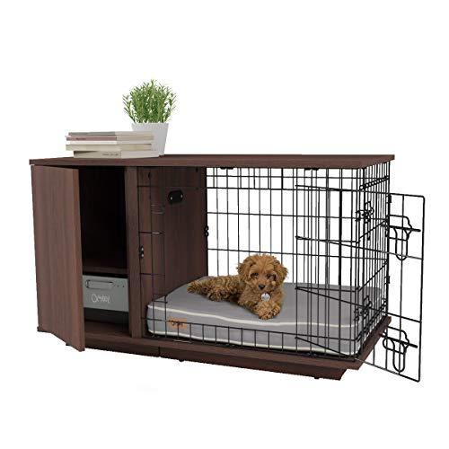 "Omlet Fido Studio 24"" Luxury Dog Crate / Dog Bed with Wardrobe - Walnut Omlet"