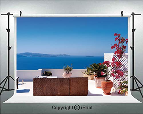 Aegean Costume - Modern Decor Photography Backdrops View of Mediterranean Santorini Aegean Sea Seascape Holiday,Birthday Party Background Customized Microfiber Photo Studio Props,5x3ft,Sky Blue Red and Light Grey