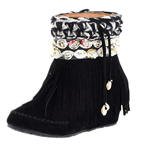 Boomboom Women Flowers Tube Boots Suede Fringed Flat Heel Short Snow Boots Black US ()