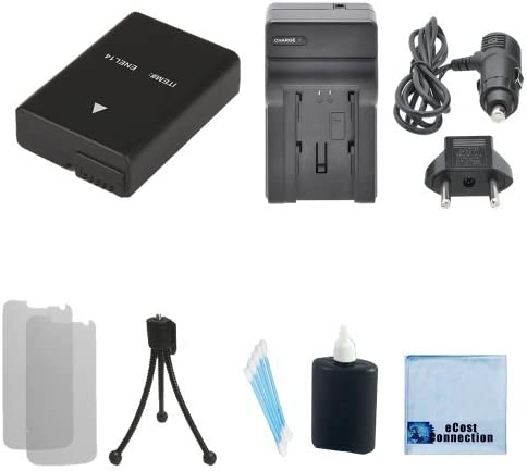 Car//Home Charger For Nikon D5300 D3100 D3200 Coolpix P7100 Camcorders D5200 Complete Starter Kit D5100 EN-EL14 Rechargeable Battery