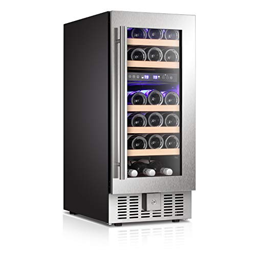 Antarctic Star Wine Cooler Refrigerator Fridge 28 Bottles Dual Zone Wine Cellar Built-in Freestanding Wine Chiller with Stainless Steel & Digital Memory Temperature Control/Wood Shelves/Silver