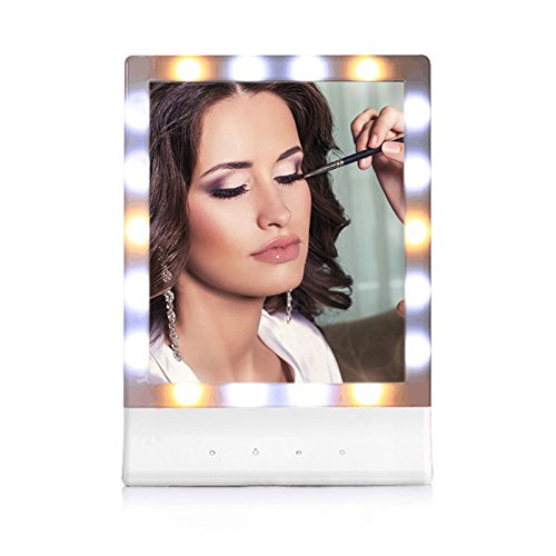 LED Lighted Makeup Vanity Mirror - Sumnacon Multiple Illumination Touch Screen Tabletop or Wall Mount Lighted Dresser Mirror with 18 LED Lights, Smart Cosmetic Mirror for Travel, Bathroom, Living (Color Corrected Light Box)
