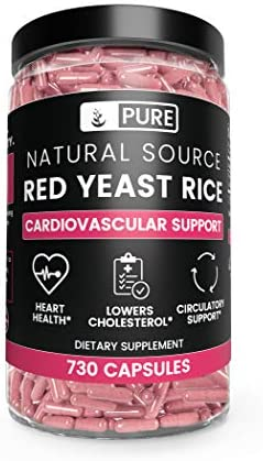 Natural Red Yeast Rice 730 Capsules, 8 Month Supply, No Magnesium or Rice Filler, No Gluten or Dairy, Made in USA, High Quality Purity, 1245 mg of Undiluted Red Yeast Rice with No Additives