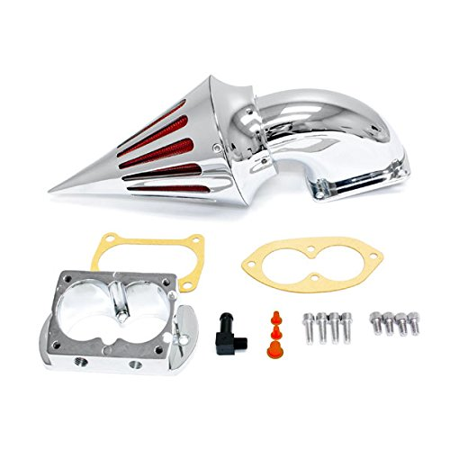 Krator® 2002-2009 Kawasaki 1500/1600 Fuel Injected Vulcan Meanstreak Cruiser High Quality Chrome Billet Aluminum Cone Spike Air Cleaner Kit Intake Filter Motorcycle ()