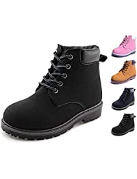 Kids Lace-Up Ankle Boots Boy Girl Waterproof Outdoor Workboots