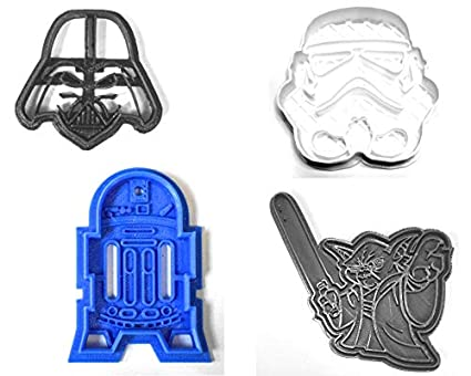 c898eac21d55e STAR WARS MOVIE CHARACTERS DARTH VADER YODA R2D2 STORM TROOPER SET OF 4  SPECIAL OCCASION COOKIE CUTTERS BAKING TOOL 3D PRINTED MADE IN USA PR1022