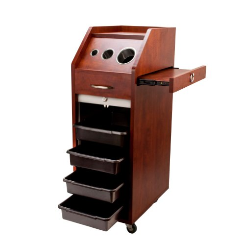 LOCKING Cherry Brown Salon Trolley Cart HAIR WOOD Beauty Salon Shelves Wheels, Health Care Stuffs