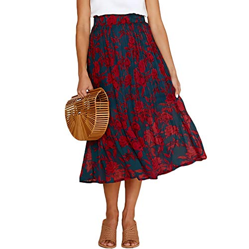 Exlura Womens High Waist Polka Dot Pleated Skirt Midi Swing Skirt with Pockets Navy