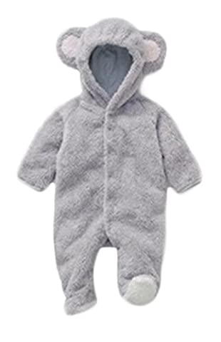 Newborn Baby Boys Girl Cartoon Bear Animal Fleece Hoodie Romper Jumpsuit Outfits size 6-9 Months/90 - Jumpsuit Coat