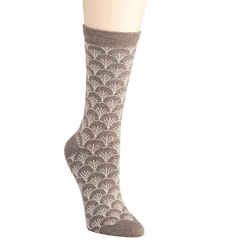Natori Fretwork Cashmere Crew Sock (NTL-603) O/S/Dark Taupe Heather