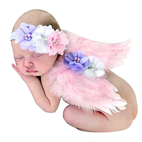 Feililong Baby Toddler Feather Angel Wings Rhinestone Headband Set Baby Chiffon Flower Headband Hair Hairband Flower Newborn Photo Prop Costume (CB009)
