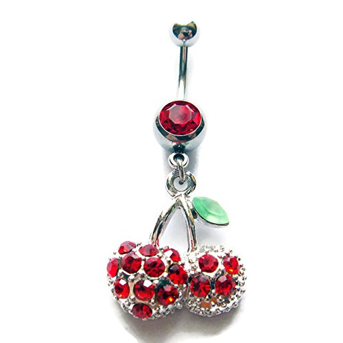14g 3/8 Cherry Belly Button Ring Navel Rings Ear Bar Piercing Jewelry
