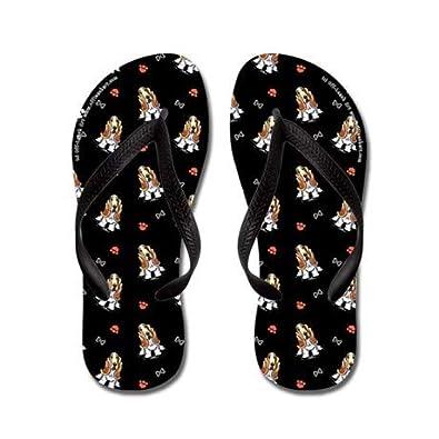 6261a8db08fd Amazon.com | Lplpol Bassets Bones n Paws Black Flip Flops for Kids Adult  Beach Sandals Pool Shoes Party Slippers Black Pink Blue Belt for Chosen |  Sandals