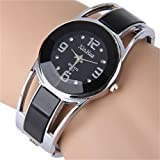 ELEOPTION ELEOPTION Bracelet Design Quartz Watch with Rhinestone Dial Stainless Steel Band Free women's Watch Box (XINHUA-Black)