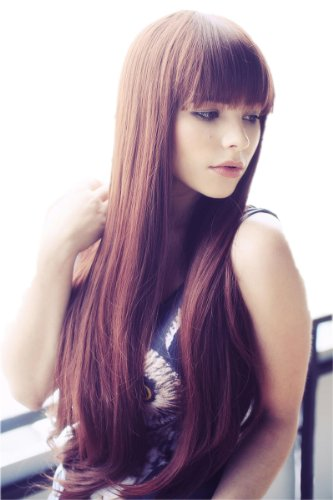 Cosplayland C865 75cm Straight Volume Thick Line Bang long brown Wig 41OvwimgJyL