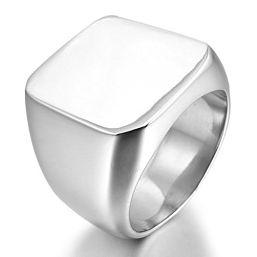 [Stainless Steel Ring for Men, Square Ring Gothic Silver Band 20*37MM Size 9 Epinki] (Boss Hog Costume)
