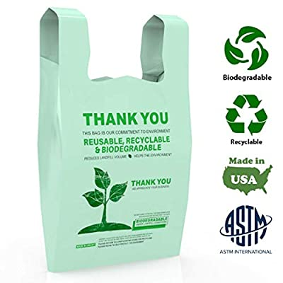 Truebion Eco Friendly, 100% Biodegradable & Compostable Certified ASTM D5511 D5526,Thank You T-Shirt Grocery Shopping Bags - 500 Count