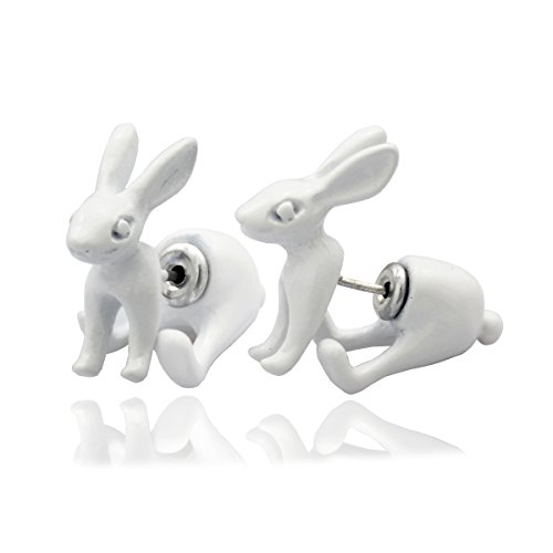 Q&Q Fashion 1Pair White 3D March Hare Rabbit Bunny Alice In Wonderland Earrings Ear Studs -