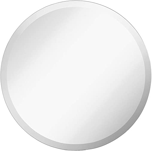 Large Simple Round 1 Inch Beveled Circle Wall Mirror Frameless 24 Inch Diameter Circular Mirror With a Silver Backed Rounded Mirrored Glass Panel Best for Vanity, Bedroom, or Bathroom 24 x 24