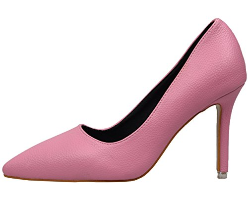 BIGTREE Dress Pumps Court Shoes Women Smooth Litchi Pattern Pointed Toe High Heel Shoes Pink 2mOTn