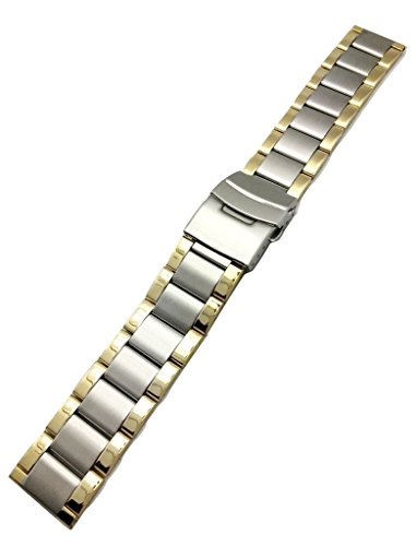 Watch Tone Solid Two Wrist (20mm Metal Watchband by NewLife | Men's Women's Gold-Tone and Silver Stainless Steel Strap Replacement Wrist Band Bracelet with Clasp that brings New Life to Any Watch)