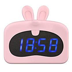 MoKo Kids Alarm Clock, Lovely Animal Alarm Clock with Silicone Case, USB Powered Sound Control LED Time Calendar Temperature Display Wake-up Clock for Children Bedroom Dormitory - Pink Rabbit