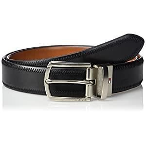 Tommy Hilfiger Men's 1 1/4 Inch Feathered Edge Stitched Reversible Belt,black/tan,38