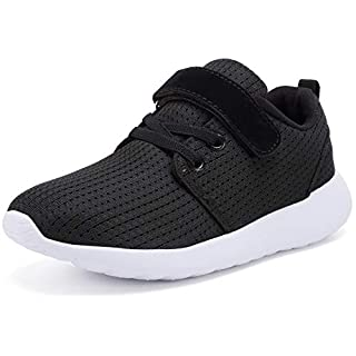 TOEDNNQI Boys Girls Sneakers Kids Lightweight Breathable Strap Athletic Running Shoes for Little Kids/Toddler Black US Size 8