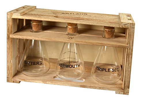 Artland Mixology 10 oz Mixer Decanters: Vermouth, Triple Sec & Bitters in a Wood Crate Gift Box